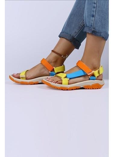 Female Project Sarı-Turuncu- Mavi Cırtlı Sandalet Sarı